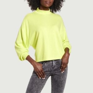 NWT All In Favor Neon Green Mock Neck Sweater Sz M
